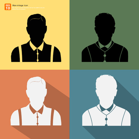 profile picture: Silhouette Male retro style avatar profile picture with shadow on color vintage background Illustration