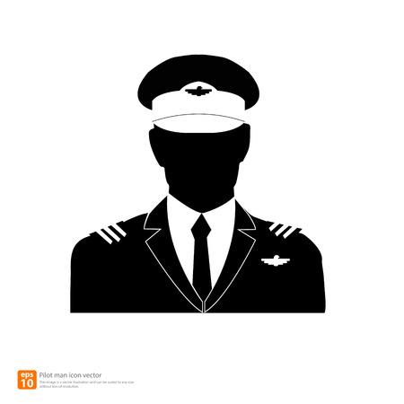 シルエット パイロット アバター プロフィール写真  イラスト・ベクター素材