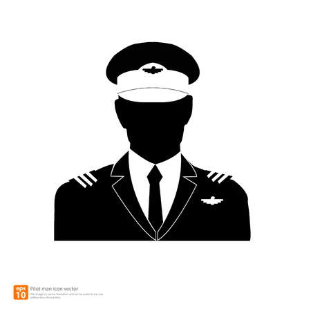 Silhouette  pilot avatar profile pictures Vector