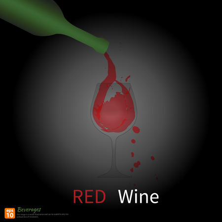 Pour the wine into a wine glass with wine splashes and spot print.