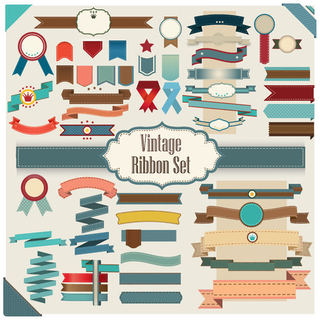 New Vector set of Ribbon colorful retro and vintage style Vector