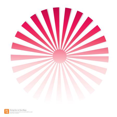 sol naciente: Nuevo sol rosa ascendente o rayo de sol, sol ráfaga diseño vectorial