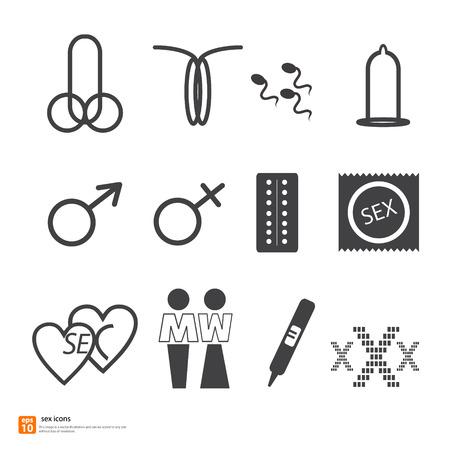 Sexe signe icône. pénis symbol.xxx vagin illustration vectorielle Banque d'images - 33846784