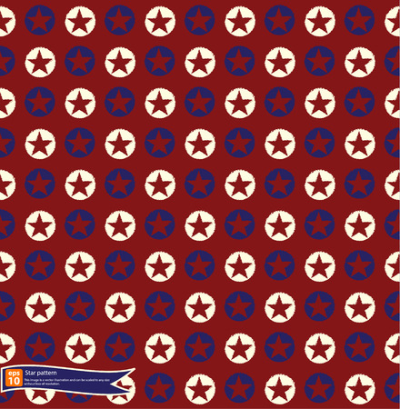 Vintage star pattern vector design, Seamless polka dot pattern with stars in american national flag colour gamut.