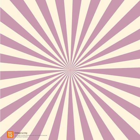 Nieuwe vector vintage roze rijzende zon of in de zon ray, zon barstte zoete retro design Stock Illustratie