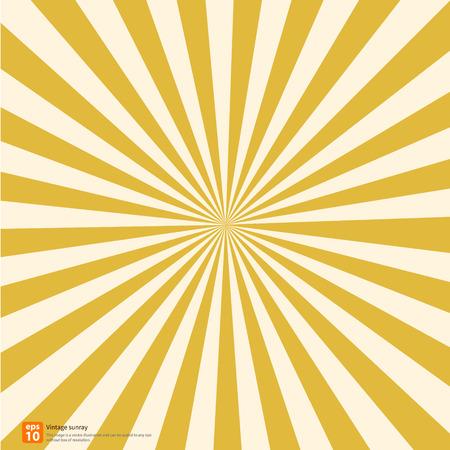 Nieuwe vector vintage gele rijzende zon of in de zon ray, zon barstte retro achtergrond ontwerp