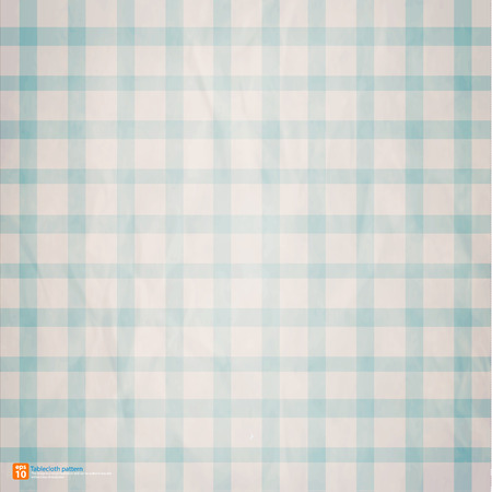chequered drapery: Vintage table cloth crumpled blue sky retro color vector design Illustration