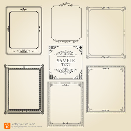Set of Vintage or Retro picture frame vector design Illusztráció