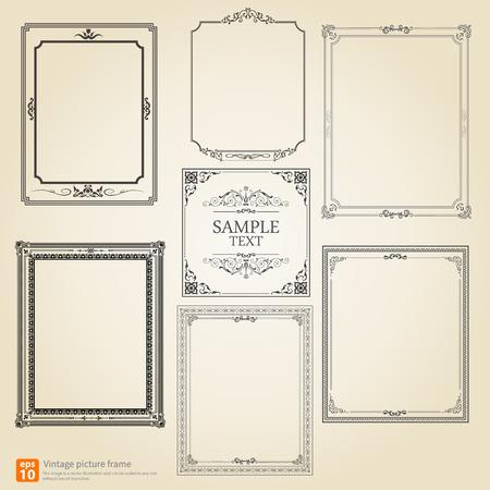 decorations: Set of Vintage or Retro picture frame vector design Illustration