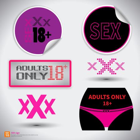 sexo femenino: XXX Registrarse icono. Sólo adultos Contenido pegatina symbol.Sex con la ilustración shadow.vector
