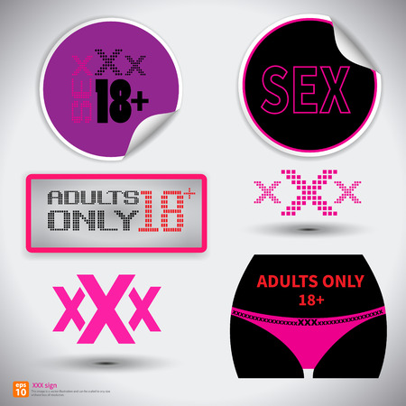 man and woman sex: XXX sign icon. Adults only content symbol.Sex sticker with shadow.vector illustration