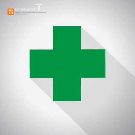 first aid sign: New  first aid sign ,midical symbol with shadow on gray background Illustration