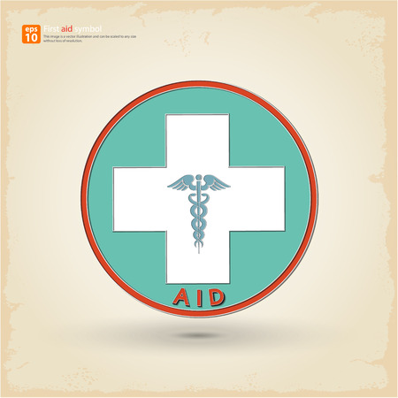 first aid sign: Retro first aid sign ,midical symbol with shadow on  vintage background