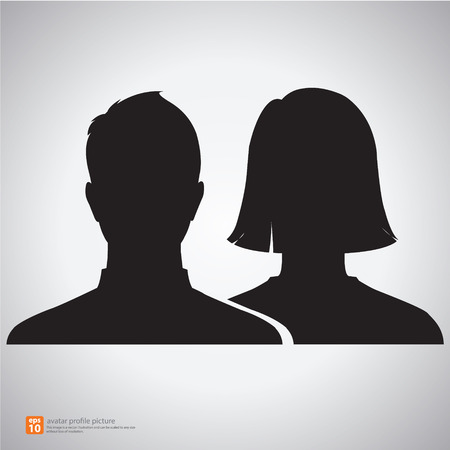 Vector silhouette man and woman icon avatar profile picture  イラスト・ベクター素材