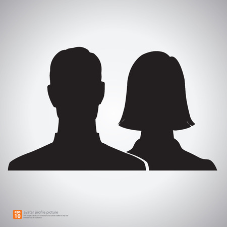 Vector silhouette man and woman icon avatar profile picture Stock Illustratie