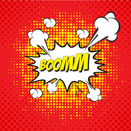 Cartoon, Boom  explosion Comic Speech Bubble Vector