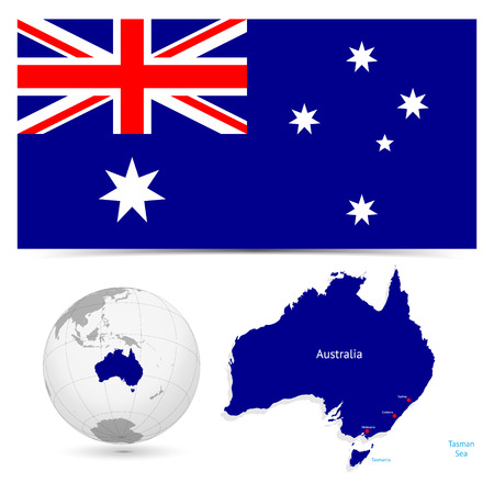 australian flag: New Detailed vector  flag with Map world of Australia. Names, town marks and national borders are in separate layers. with globe That separates by Continent.