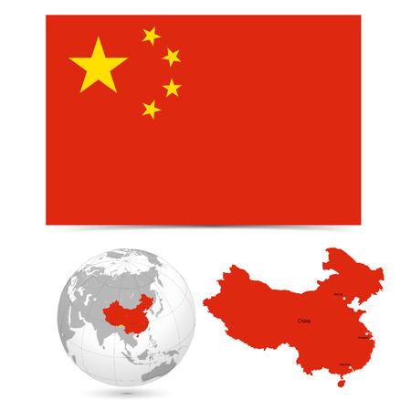 中国の地図世界と新しい詳細なベクトルのフラグです。名、町印国境は別のレイヤーにします。地球と大陸が分離します。