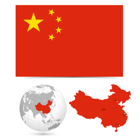 New Detailed vector  flag with Map world of china. Names, town marks and national borders are in separate layers. with globe That separates by Continent.