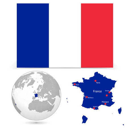 New Detailed vector  flag with Map world of France. Names, town marks and national borders are in separate layers. with globe That separates by Continent.