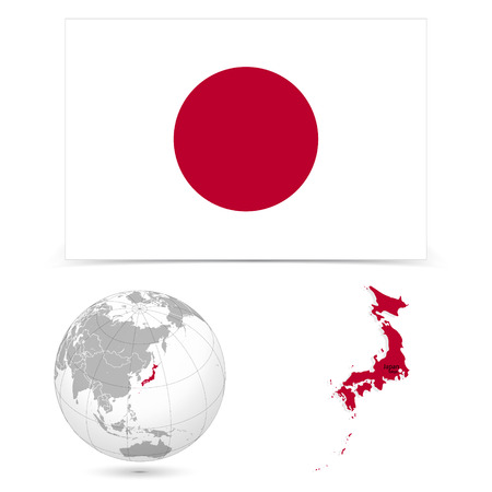 New Detailed vector  flag with Map world of Japan. Names, town marks and national borders are in separate layers. with globe That separates by Continent. Vector
