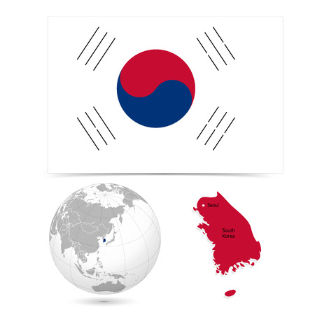 New Detailed vector  flag with Map world of South Korea. Names, town marks and national borders are in separate layers. with globe That separates by Continent.