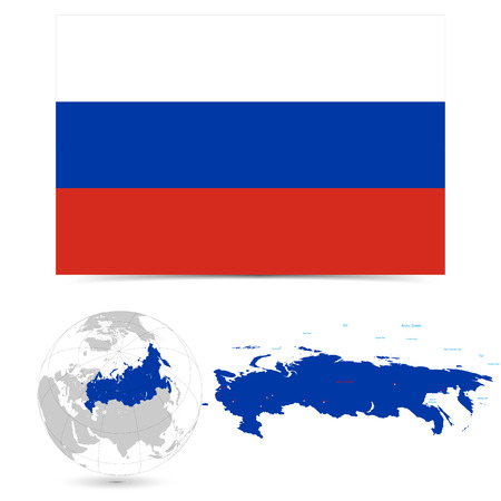 New Detailed vector  flag with Map world of Russia. Names, town marks and national borders are in separate layers. with globe That separates by Continent. Ilustração