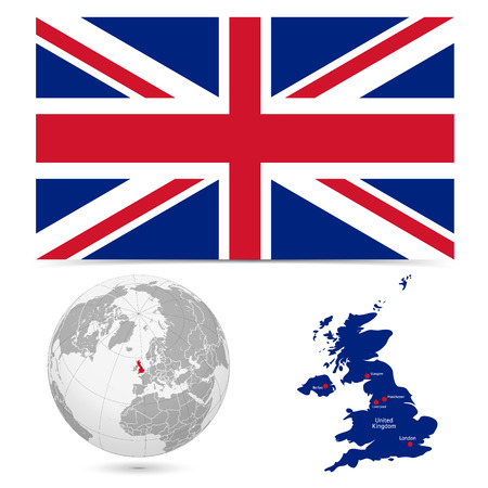 New Detailed vector  flag with Map world of England. Names, town marks and national borders are in separate layers. with globe That separates by Continent. Ilustração
