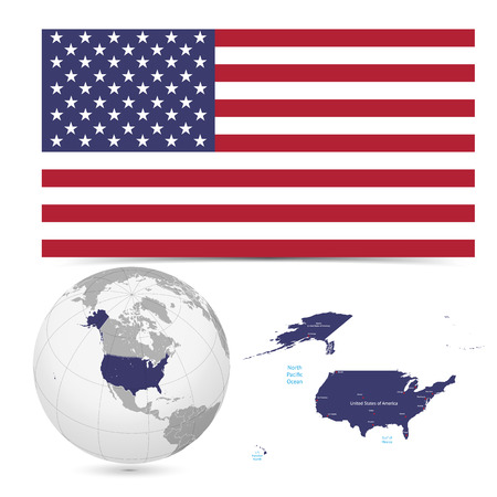 New Detailed vector  flag with Map world of America,USA. Names, town marks and national borders are in separate layers. with globe That separates by Continent.