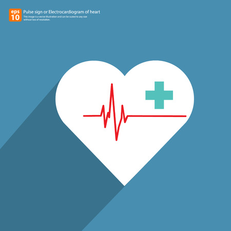 cardiograph: New Electrocardiogramecg or ecg, ekg with heart ,AID symbol,  medical sign with shadow vector icon design