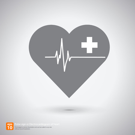 New Electrocardiogramecg or ecg, ekg with heart ,AID symbol,  medical sign with shadow vector icon design