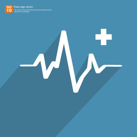 pulsating: New Electrocardiogram, ecg or ekg - medical sign with shadow vector icon design