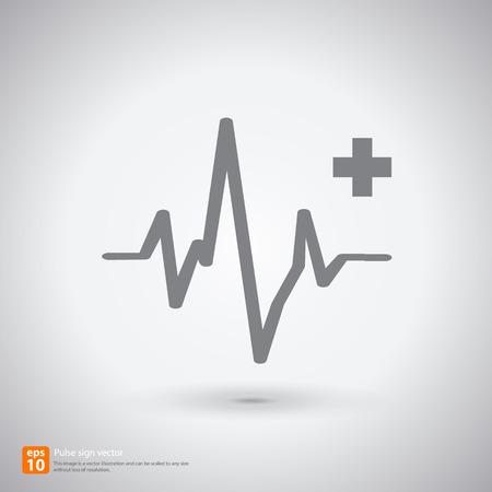 cardiograph: New Electrocardiogram, ecg or ekg - medical sign with shadow vector icon design