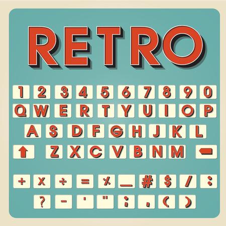 alphabet letters vector: Vintage alphabet. Retro type font. 3d letters. Typography for your design. Vector illustration EPS10 Illustration