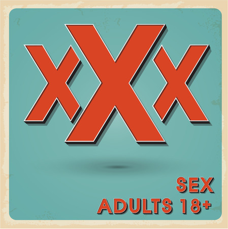 adults sex: XXX sign icon. Sex poster with shadow.vector illustration retro style Illustration