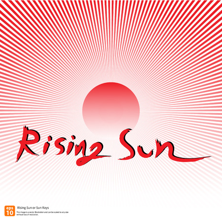 kamikaze: New Red rising sun or sun ray,sun burst vector design Illustration
