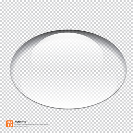 Transparent water drop with shadow on light gray pattern  background, vector illustration