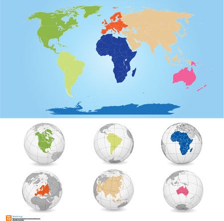 New Detailed vector Map world of colors. Names, town marks and national borders are in separate layers. with globe That separates by Continent.