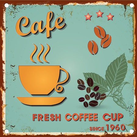 retro type: Vintage metal sign - Fresh Coffee cup -  Retro type font poster. Vector EPS10. Grunge effects vector design