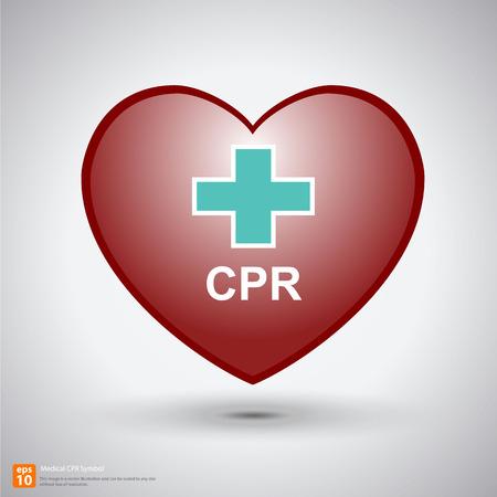 cpr: heart cpr medical icon vector design