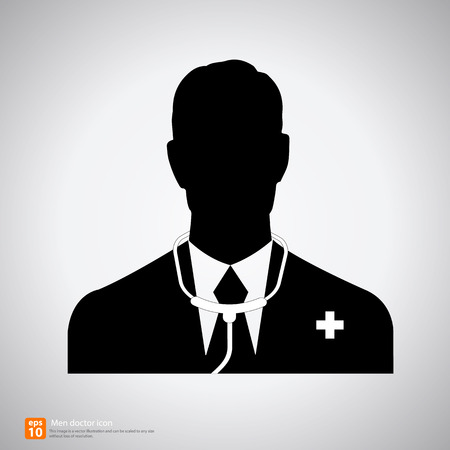 black people: Silhouette Male doctor avatar profile picture  on white background