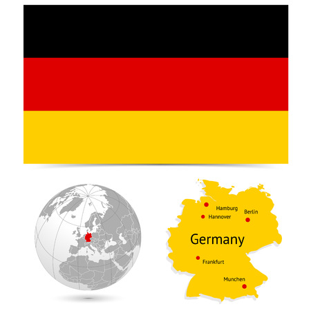 New Detailed vector  flag with Map world of Germany. Names, town marks and national borders are in separate layers. with globe That separates by Continent.