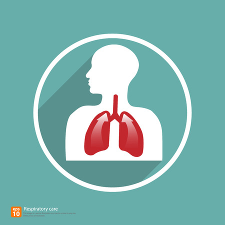 breathe: respiratory icon vector with shadow, medical sign Illustration