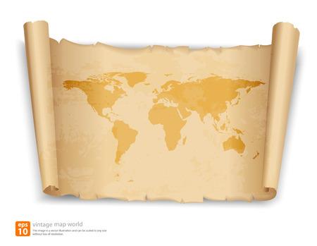 Weltkarte auf Vintage-Scroll-Papier-Vektor-Format