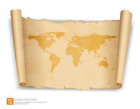 old rustic map: World map on vintage scroll paper vector format