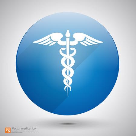 Medical vector icon ,Caduceus sign with shadow Vector