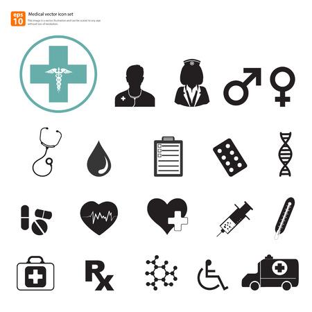 emergency kit: New Medical vector icon set Illustration