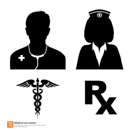Silhouette vector medical icon doctor and nurse avatar profile picture with Caduceus sign and Rx medicine sign