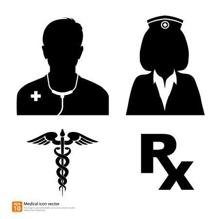 Silueta vector icono médico médico y la enfermera avatar foto de perfil con la muestra del caduceo y Rx signo medicina Vectores
