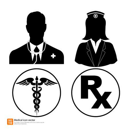 Silhouette vector medical icon doctor and nurse avatar profile picture with Caduceus sign and Rx medicine sign Vector